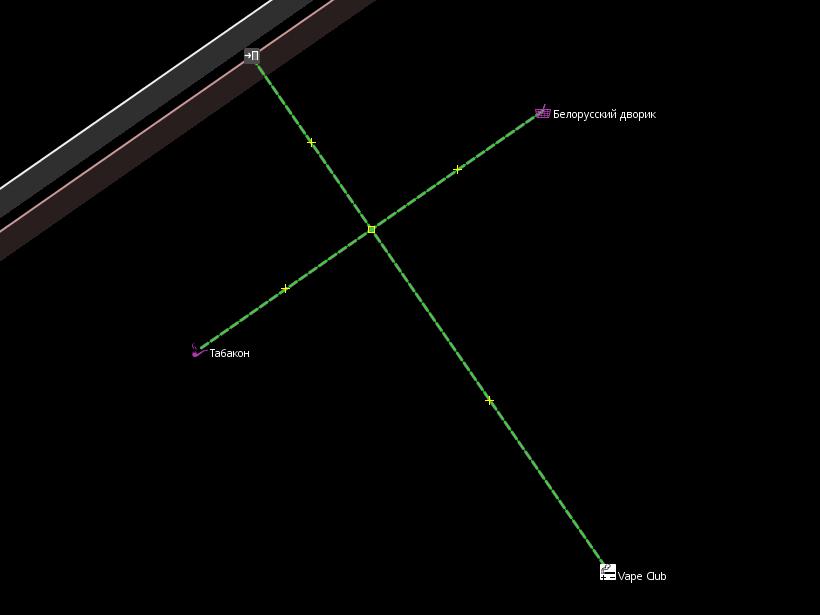 скриншот из JOSM: несколько POI, соединённые коридорами со входом в здание