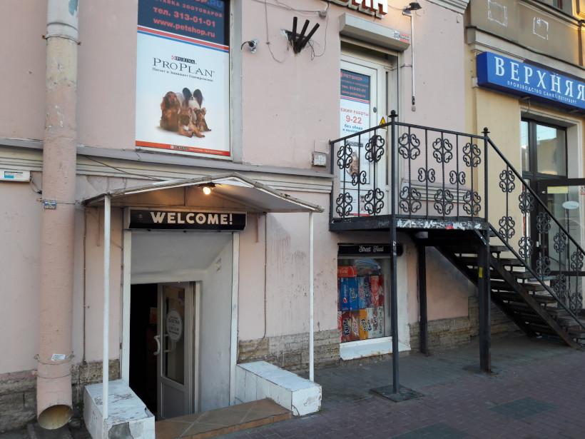 Лестницы вверх и вниз, ведущие от тротуара ко входам в магазины