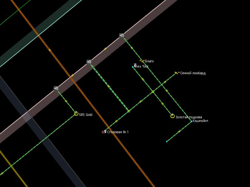 Место с несколькими POI, соединёнными пересекающимися проходами